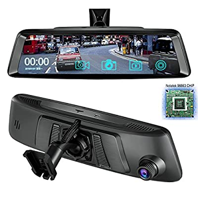 "10""Dash Cam Car DVR Stream Media Dual Lens Mirror Full Touch Screen HDR Reversing Backup Camera kit, Front and Rearview Camera Sony Sensor1080P HDR night vision Rear rear view mirror video Recorde from YANDA"