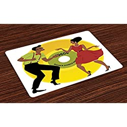 Lunarable Vintage Modern Place Mats Set of 4, Couple in Sixties Clothing Dancing the Twist with Vinyl Record Background, Washable Fabric Placemats for Dining Room Kitchen Table Decor, Multicolor