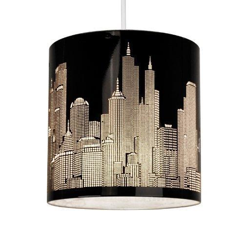 4 opinioni per Paralume moderno e di metallo nero lucido con motivo del profilo di New York --