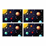 InterestPrint Solar System Orbits Sun Earth Mars Twinkling Night Sky Stars Placemat Table Mats Set of 4, Heat Resistant Place Mat for Dining Table Restaurant Home Kitchen Decor 12''x18''
