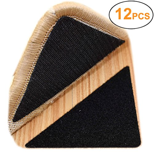 Yorwe Rug Anchors, Double Sided Adhesive Hook and Loop Buckle Nylon Button Staircase Floor Carpet Non-slip Mat Anti-skid Stickers Triangle (12PCS, Black) by Yorwe