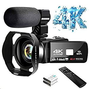 Best Epic Trends 51znZ4X17ZL._SS300_ 4K Video Camera Ultra HD Camcorder 48.0MP IR Night Vision Digital Camera WiFi Vlogging Camera with External Microphone…
