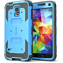 i-Blason Samsung Galaxy S5 Case, Armorbox Dual Layer Hybrid Full-Body Protective Case with Front Cover and Built-In Screen Protector/Impact Resistant Bumpers (Galaxy S5, Black)