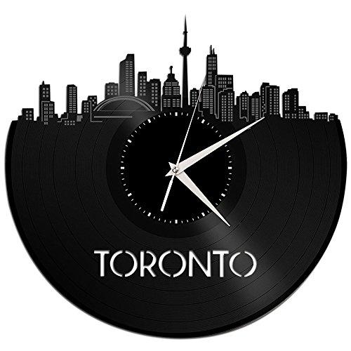 VinylShopUS – Toronto Vinyl Wall Clock Cityscape Personalized Decor