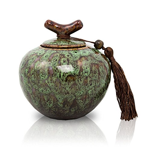 Branch Ceramic Cremation Urn for Ashes - Small - Holds Up to 30 Cubic Inches of Ashes - Moss Green Memorial Urns for Ashes - Engraving Sold Separately