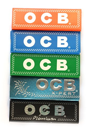 - 5 booklets - OCB 5 different single wide Rolling paper 36 x 69mm - 250 papers