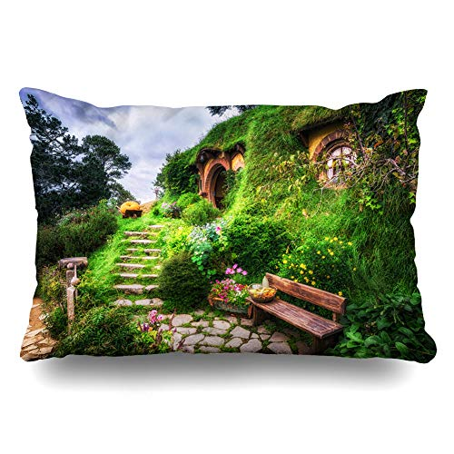 Ahawoso Throw Pillow Cover King 20x36 Viewpoint Matamata Bilbo Baggins Hobbit Garden Hobbiton Parks View Bench Famous Scenic End Cushion Case Home Decor Pillowcase