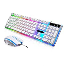 JUDYelc Wired Gaming Keyboard+ Mouse Combo Sets USB Port Keycaps 1000dpi Rainbow Color Backlight Mice Set (White)