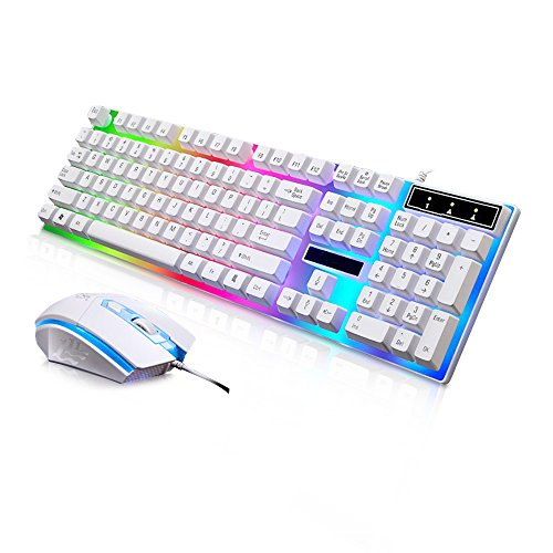 JUDYelc Wired Gaming Keyboard+ Mouse Combo Sets USB Port Keycaps 1000dpi Rainbow Color Backlight Mice Set (White) (Laser Mouse White Bluetooth)