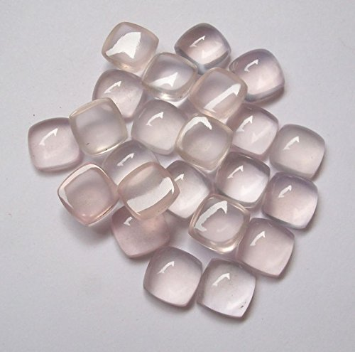 Natural Rose Quartz 6mm 50 Pieces Cushion Cabochon Top Quality Pink Color Gemstone Wholesale Lot for Sale