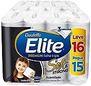 Papel Higiênico Elite Premium Folha Tripla Soft, 16 rolos, Branco
