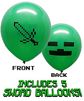 "25 Pixel Style Miner Party Balloon Pack - Large 12"" Latex Balloons by Jade's Enterprises"