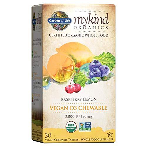 Garden of Life Organic Vitamin D3 Mykind Vegan Chewable Tablets, 2000 IU (50mcg) Whole Food from Lichen Plus & Mushroom…
