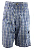 Age of Wisdom Regular Fit Plaid Cargo Shorts 100% Cotton Blue 34