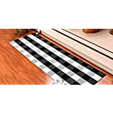 DOLOPL Kitchen Rug Buffalo Check Rug Black and Off White Plaid Rug 2'x6' Easy to Clean Durable Machine Washable for Kitchen L