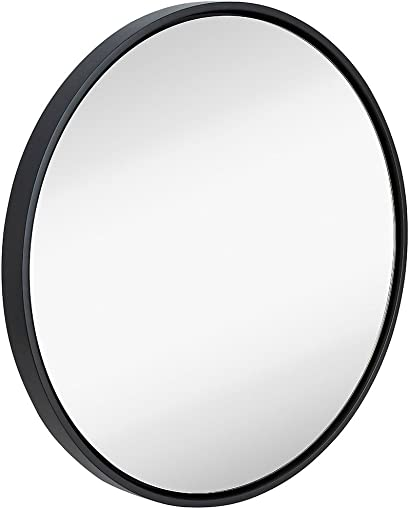"Hamilton Hills Clean Large Modern 32"" Black Circle Frame Wall Mirror 