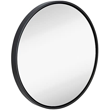 Amazon.com: Clean Large Modern Black Circle Frame Wall Mirror ...