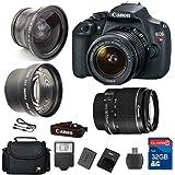Value Bundle for T5 DSLR Camera + 18-55 IS II Lens + Wide Angle Lens +Telephoto Lens + 32GB Memory + Card Reader + Flash + Camera Case