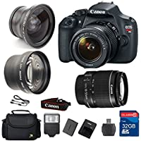 Value Bundle for T5 DSLR Camera + 18-55 IS II Lens + Wide Angle Lens +Telephoto Lens + 32GB Memory + Card Reader + Flash + Camera Case