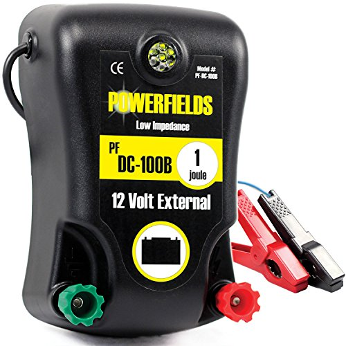 Powerfields PF-DC100B 60 Acre 12 Volt DC Electric Fence Energizer, 1.0 Joule