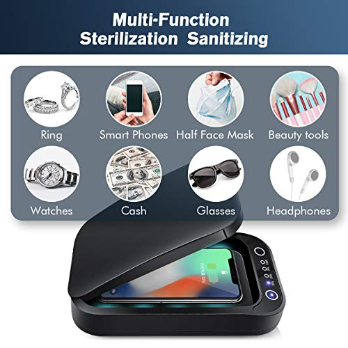 RioRand Double Bond UV Ultraviolet Smartphone Sterilizer Box,Multi-Function Sterilization Sanitizing with Aromatherapy for Cellphone Jewelry Watches Black