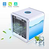 ROSKY Personal Air Conditioner, Portable Air Conditioner Fan with Humidifier and Air Purifier, Desktop Cooling Fan 7 Colors LED Night Light Outdoor Travel USB or Conventional for Energy Save (white)
