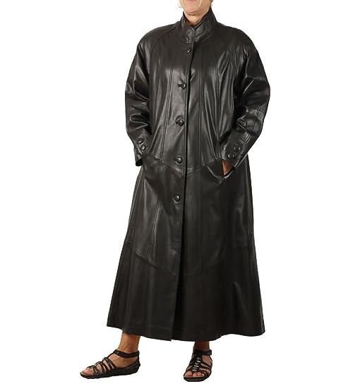 Amazon.com: Simons Leather Women's Full Length Leather Swing Coat ...