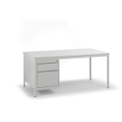 Escritorio de taller gris claro – L x P 1600 x 800 mm – cajones 1 ...