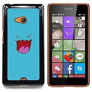 """Qstar Arte & diseño plástico duro Fundas Cover Cubre Hard Case Cover para Nokia Lumia 540 (Cara linda sonriente azul"""")"""