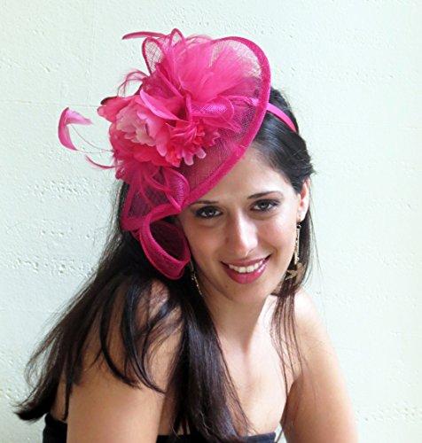 Hot pink fascinator hat fuchsia wedding hat derby party fascinator THE BEST