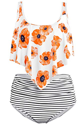 - Byoauo Womens Swimsuits Two Pieces Ruffled Racerback Bikini Top with High Waisted Bottom Bathing Suits (XL, Orange Flower)