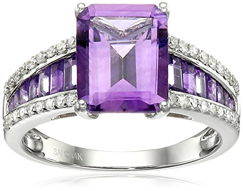 14k White Gold Amethyst and Diamond (1/5cttw, H-I Color, ...