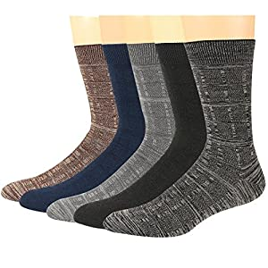 Mens Dress Crew Socks Wool Durable Keep Warm Classical Colors Stretchable Size 6~12(5Pack)