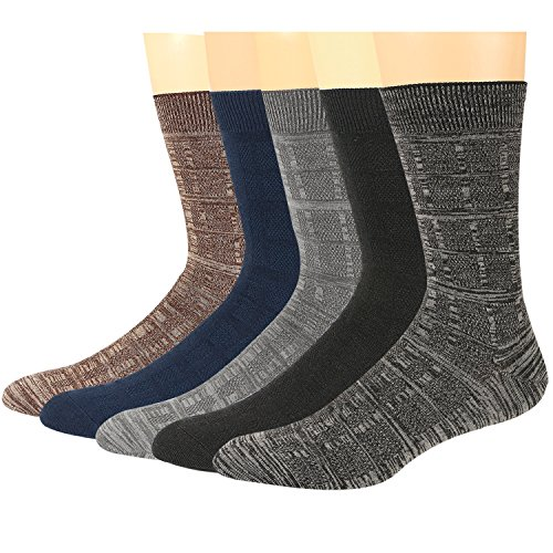 Mens Dress Crew Socks Wool Durable Keep Warm Classical Colors Stretchable Size 6~12(5Pack) (Dress Wool Socks)
