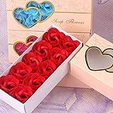 Rendodon Romantic Valentine Gifts - Decor Heart Shape Gift Box 10Pcs Scented Bath Body Petal Rose Flower Soap Wedding Decoration Gift (Red)