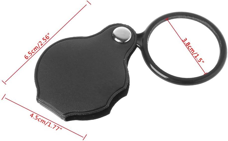 mini lupa de 5 aumentos plegable para lectura de peri/ódicos Lupa port/átil de 40 mm