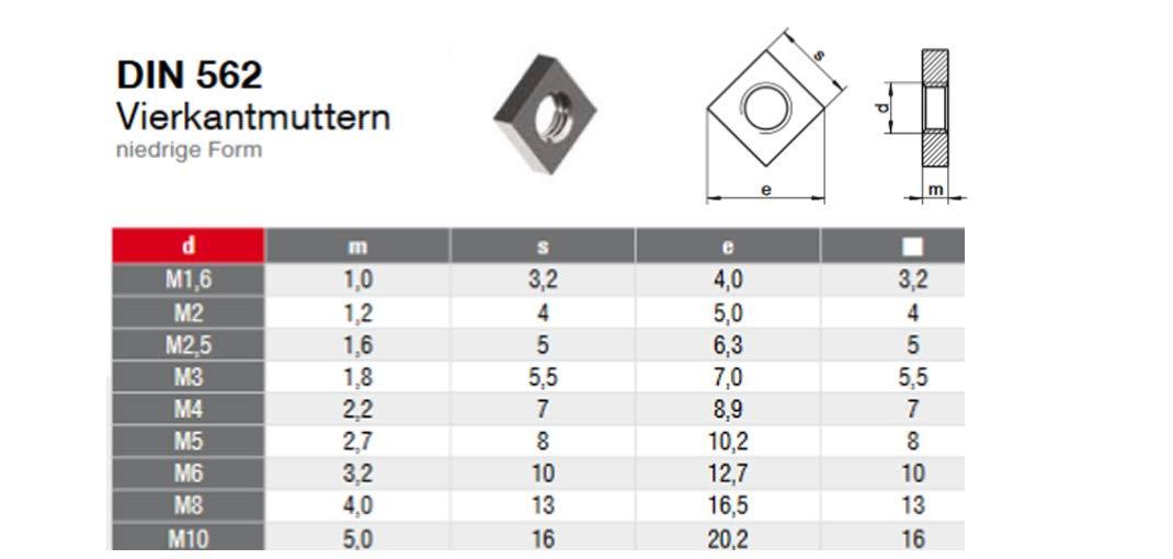Quadratmutter 10 STK M8 Vierkantmutter niedrige Form DIN 562 Edelstahl A4 Einlegemutter