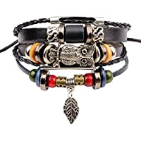 Jewelry For Men,AutumnFall New Fashion Mens Braided Leather Stainless Steel Cuff Bangle Bracelet Wristband (Colorful)