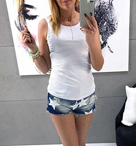 Jointif Manches Shirt Dos Dentelle Dbardeur Femme COMVIP Coton Blanc sans Nu T Basique en afTExBn6