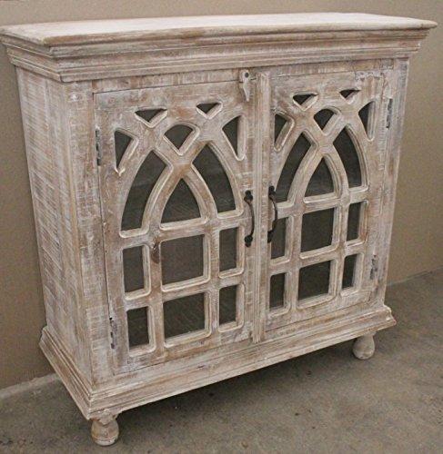 Crestview Bengal Manor Light Mango Wood Cathedral Design 2 Door Cabinet
