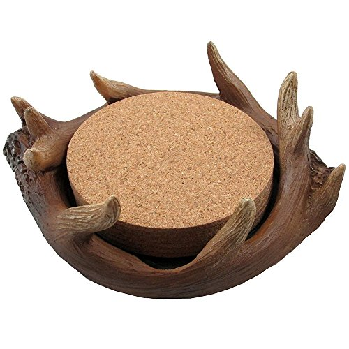 Decorative Deer Antler Cork Drink Coaster Set with Display Holder in Hunting Lodge Bar & Table Decorations or Rustic Cabin Kitchen Decor and Artistic Forest Animal Collectibles and Gifts for Buck Hunters or Outdoorsmen