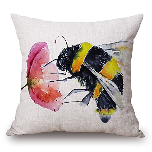 Easternproject Cute Cat Funny Quote Cotton Linen Throw Pillow Case Cushion Cover Home Decorative Square Pillowcase 18x18 Inches (Bees are Gathering Nectar From Flowers) -
