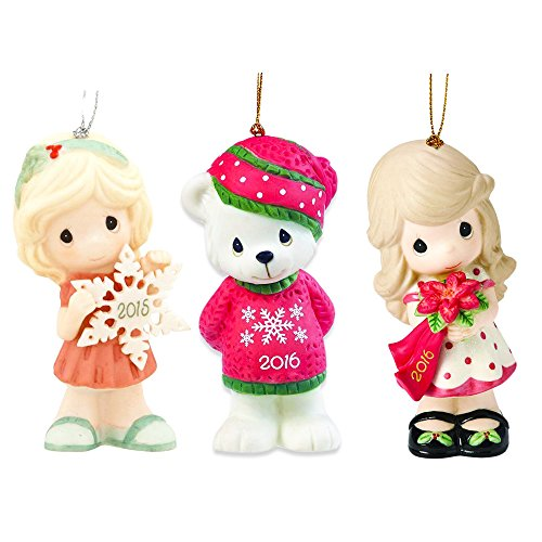 Precious Moments Ornaments Set - 3 Porcelain Christmas Ornaments, Figurines with Loop -