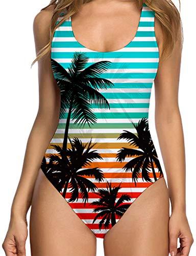 Women's Tropical Aloha Hawaiian Coconut Tree Blue and Red Striped Printed Monokini One Piece Swimsuits Pink Bathing Suit Swimwear 80s Clothes Beachwear