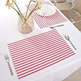 Cotton Placemats, Set Of 4, Double Sided Placemats (13 x 19 Inches), Red & White Stripe - Perfect For Spring, Summer, Holidays - Christmas And For Everyday Use