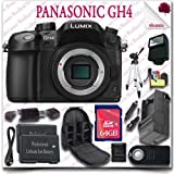 Panasonic Lumix DMC-GH4 4K Mirrorless Digital Camera (Body Only) + Wireless Remote + 64GB SDHC Class 10 Card + SLR Camera Backpack + 57'' Tripod + External Slave Flash + HDMI Cable 15pc Panasonic Saver Bundle