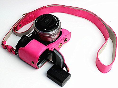 Full Protection Bottom Opening Version Protective PU Leather Camera Case Bag with Tripod Design Compatible For Sony ILCE6300 a6300 with Shoulder Neck Strap Belt Magenta