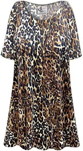 Black & Brown Animal Slinky Plus Size Supersize Extra Long A-Line Top