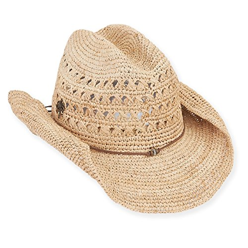 Sun 'N' Sand - Cowboy Raffia Hat With Faux Leather Brim 3