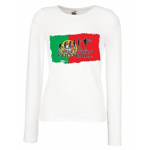Camisetas de Manga Larga para Mujer El Equipo Nacional de Fútbol de Portugal - Evolución, Copa Mundial 2018 Rusia: Amazon.es: Ropa y accesorios